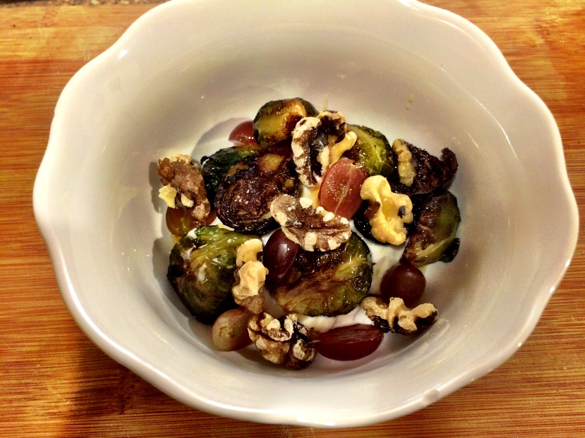 Roasted Brussels Sprouts with Greek Yogurt, Grapes and Walnuts | The ...